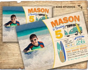 Surf invitation - vintage beach summer party invite -  surfboard invitation with camper van - vintage DIY printable invitation