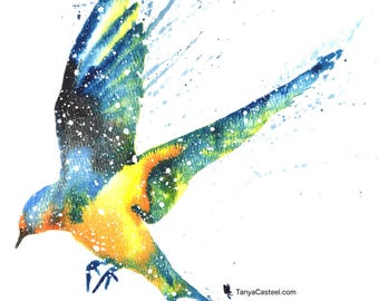 Swallow ORIGINAL Watercolor 9X12, Galaxy Spirit Animal