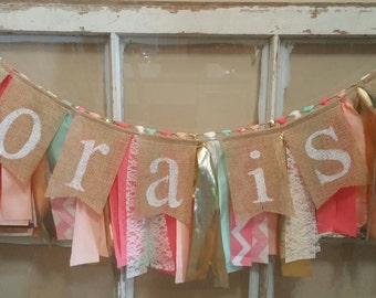 Personalized Banner, Baby Name Bunting, Custom Banner, Burlap Banner, Baby Shower Girl, Baby Shower Garland, Name Banner Girl, Custom Sign