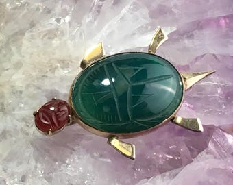 Vintage WRE 12K Yellow Gold Filled Gemstone Carved Scarab Beatle Brooch Pin - Egyptian Revival Scarab Brooch Pin