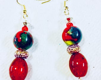 Red and Marble Glass Bead Earrings