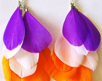 Cute Purple White Orange Feather Bright Summer Party Earrings