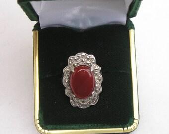 Art Deco Sterling Silver Marcasite & Carnelian Ring Size 6