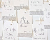 Glitter Escort Tags in SILVER with Custom Calligraphy for Wedding Event Party or Shower with Name and Table Number