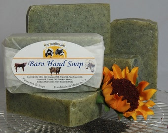 Barn Hand Soap,  Gardening Soap, Pumice Soap, Handmade Natural Soap, Cold Process Soap, Vegan, Lemon Soap