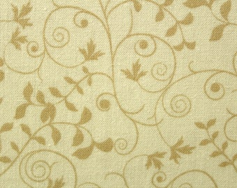 Fabric, Cotton Fabric, Vines, Leaves, Sewing Fabric, Quilting Fabric, Cream Fabric, By the Yard, Quilting Treasures, Our Father, EEECrafter