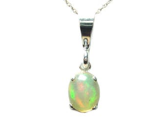 Ethiopian opal sterling slver pendant with chain