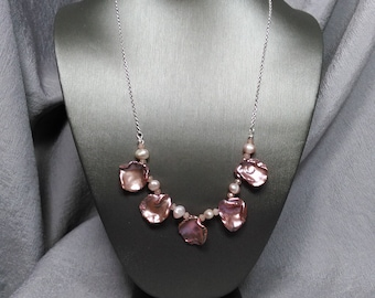 Keshi Pearl Rose Quartz Pearl and Sterling Chain Necklace