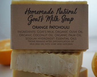 Homemade Natural Goat's Milk Soap Orange Patchouli