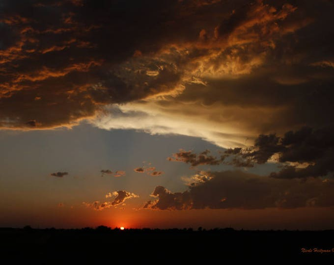 Sunset Photography Cloudy skies Scenic Decor Orange Sunset Sky Mother's Day gift for her South Dakota Metal Print Photo by Nicole Heitzman