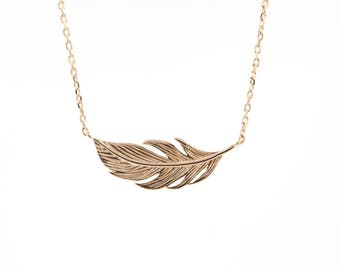 Feather necklace in silver or gold fill