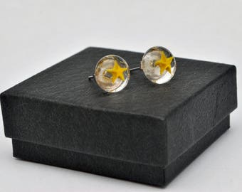 Yellow star fused glass stud earrings