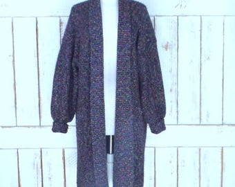 Vintage chunky woven knit oversize cardigan sweater coat/long chunky duster sweater/colorful cardigan