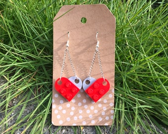 Upcycled Red and Light Gray Dangle LEGO Heart Earrings