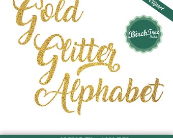 Gold Glitter alphabet clipart, gold sparkle letters, gold glitter font, gold calligraphy letters, instant download, transparent background