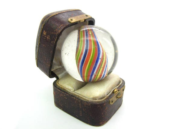 Antique Large Round Glass German Marble African Trade Bead