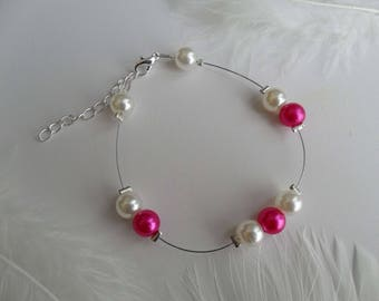 Bracelet pearls Pearly Fuchsia and ivory ceremony ooo Bridal jewelry