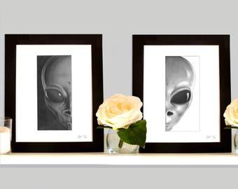 2 x Aliens Little Grey Men Limited Edition Fantasy Art