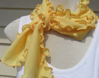 Citrus Lemon Zest Ruffled Scarf Buttercup Yellow Ruffled Lettuce Edge