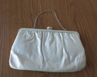 Vintage Silver Formal Clutch Style Purse, Silver Evening Bag Wth Chain, Formal Evening Clutch
