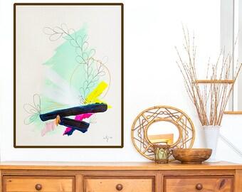 Large abstract art print - modern wall art print - abstract fine art giclee - edgy abstract art - mint green painting print