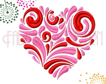 VALENTINE HEART FLOURISH Machine Embroidery Design   Five sizes for 4x4 and 5x7 hoops   #604