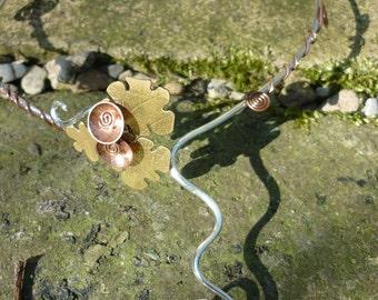 Celtic Oak  Torc, Necklace silver, SquareHare, Free Postage, UK, Vegan, Druid, Nature