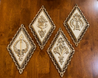 Vintage Diamond Shaped Wall Plaques Homco Gold and Ivory Mod/ Retro 7224- 7227