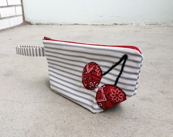 Wristlet Clutch Quilted Cherries Applique, Cotton Ticking Outer Lined with Cotton Print