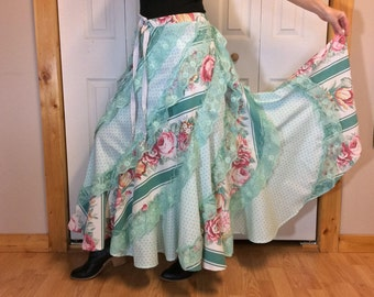 RESERVED Floral Spring Skirt/Cotton Maxi Skirt/Long/Pink & Green/Boho Hippie Gypsy/Upcycled Recycled Clothes/Womens One Size Fits S-M-L