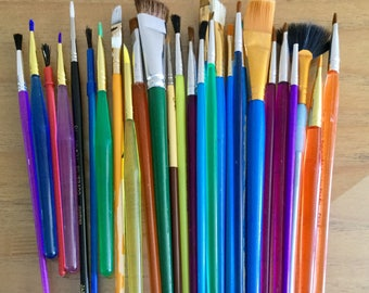 Paint Brushes Supplies Painting - Excellent Condition Some Never Used 28 brushes