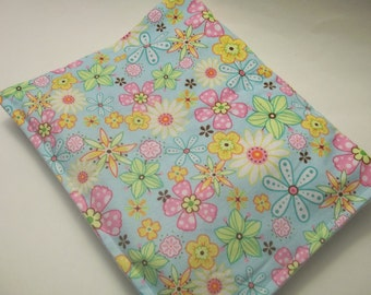 Hot/Cold Herbal Therapy Flax Seed  Heating Pad & Bright Floral Cover
