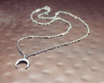 Silver Horn Charm Necklace