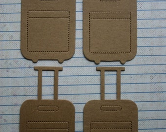 4 Bare chipboard die cuts Suitcase Diecuts