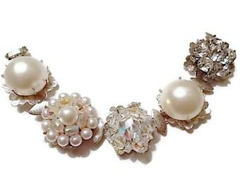 Vintage Earring Bracelet  Rhinestone Aurora Borealis Pearl Bridal Wedding Jewelry