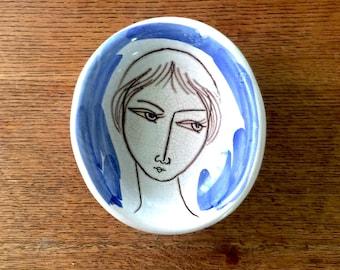 Unamused Lady Italian Ceramic Dish Unknown Maker 1950-60s Vintage