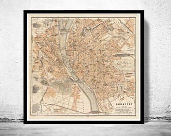 Old Map of Budapest Hungary 1913
