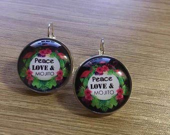 """PEACE LOVE and MOJITO"" earrings"