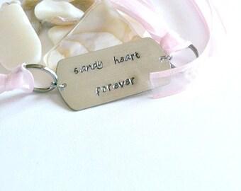 "Metal Stamped Wrap Bracelet, Handmade Metal Stamped, ""Sandy Heart Forever"", Pink, Grey, Wrap Bracelet"