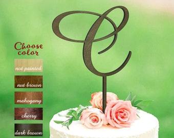 Letter C cake topper, Initials Cake Topper, Wedding Cake Topper Monogram, Wood Initial Cake Topper, cake topper letter c, CT#053