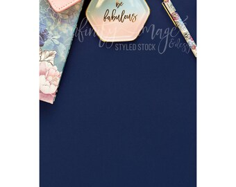 Blue Vertical Styled Stock Product Photography Background w/Pink Notebook & Journal, Pens, Wallet, Jewelry Holder / High Res File #INF113SS