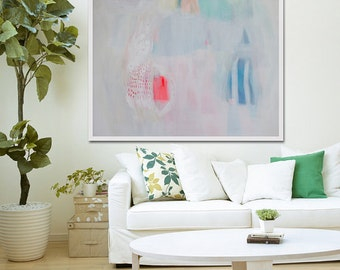 """White abstract PRINT of original painting with blue, green and red.GICLÉE PRINT """"French Fancy"""""""