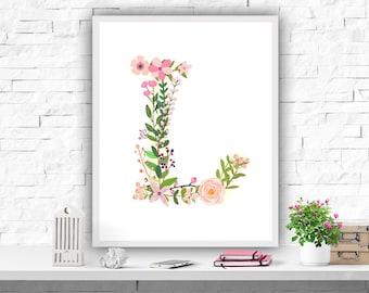 Monogram Printable, Nursery Wall Art Print, Initial Personalized Decor, Monogram L, Pink Decor, Baby Girls, Instant Download