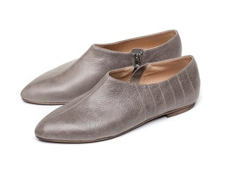 Sale 50% off! Gray shoes minimalistic design, flat shoes, women shoes, handmade leather shoes, everyday shoes. Charlie model.