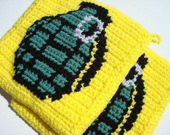 Bright Yellow Grenade Potholders - Green and Yellow - Crochet, Crocheted Potholders, Pot Holders, Hot Pads, Trivet Set of Two - Kitchen