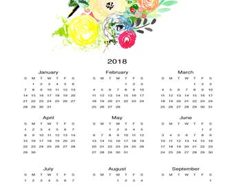 2018 Calendar//Original Art Colorful Wildflower and Goldfinch//Watercolor Calendar//One Page Wall Calendar 12 x 18//Giclee Print
