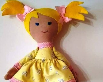 Fabric doll rag dolls blond haired girl gift for girl gift for daughter cloth doll handmade doll Modern doll old fashioned doll