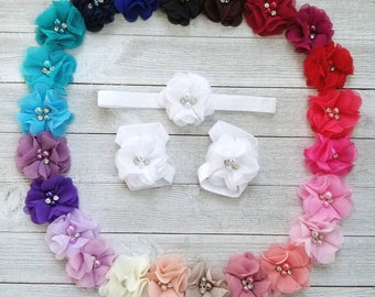 Barefoot Baby Sandals and Headband Set, Baby Sandals, Barefoot Sandals, Newborn Sandals, Newborn Headband, Baby Girl Sandals, Baby Shoes