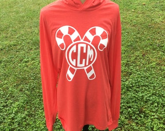 Christmas Monogrammed Hoodie - Candy Cane Shirt - Christmas Shirt - Lightweight Hoodie - Christmas Hoodie - Personalized Christmas