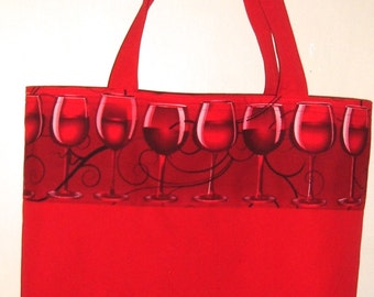 Red Tote Bag with Wine Glasses Eco Friendly Market Bag